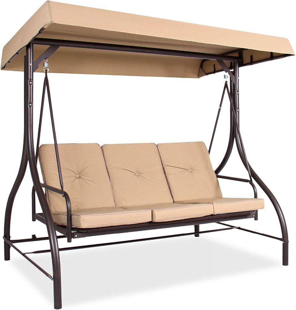 3-Seat Outdoor Large Converting Canopy Swing Glider