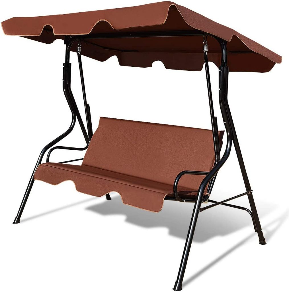Tangkula 3 Seater Canopy Swing, Outdoor Patio Swing